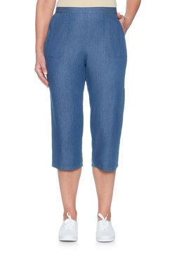 Image: Enzyme Wash Denim Cargo Capri