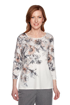 Image: Etched Floral Yoke Top