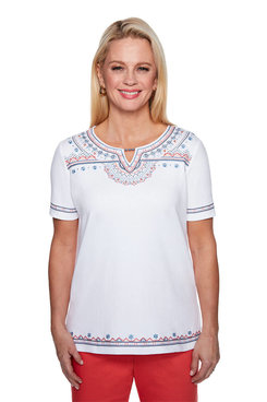Image: Ethnic Embroidered Yoke Top