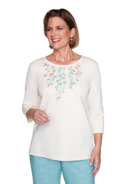 Image: Floral Applique Knit Top