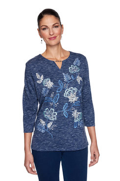 Image: Floral Embroidery Three-Quarter Top