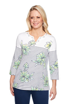 Image: Floral Pinstripe Top