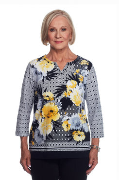 Floral Top with Textured Border