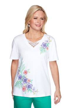 Image: Floral Tropical Embroidery Top