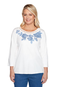 Image: Floral Yoke Embroidered Top