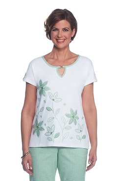 Garden Party Petite Applique Check Floral Border Top
