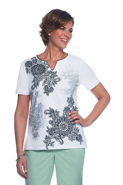 Garden Party Petite Asymmetrical Scroll Floral Top