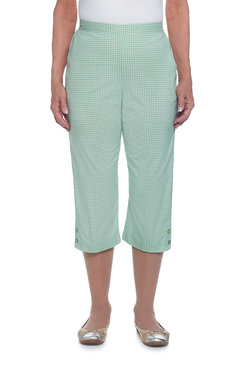 Garden Party Petite Gingham Check Button Cuff Capri