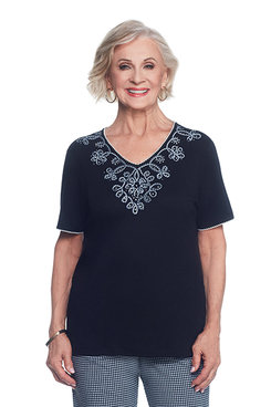 Garden Party Scroll Beaded Yoke Top