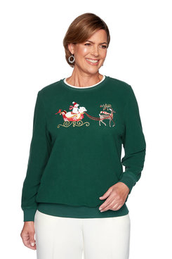 Holiday Reindeer and Polar Bear Embroidered Pullover