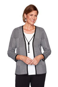 Image: Houndstooth Patchwork Two-For-One Sweater