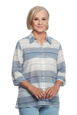 Indigo Girls Plus Horizontal Stripe Top