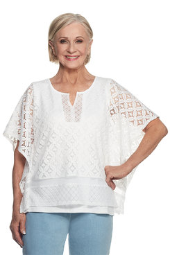 Indigo Girls Plus Lace Flutter Sleeve Two For One Top