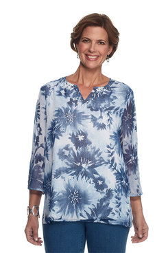 Indigo Girls Textured Floral Top