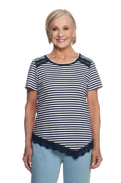 Indio Girls Plus Lace Trim Stripe Top