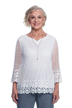 Lace It Up Petite Crochet Tunic