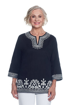 Lace It Up Plus Soutache Scroll Tunic
