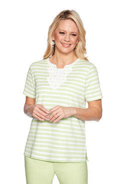 Image: Lace Neck Monotone Stripe Top