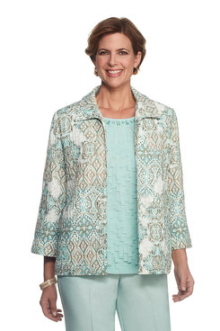 Ladies Who Lunch Petite Medallion Crinkle Jacket