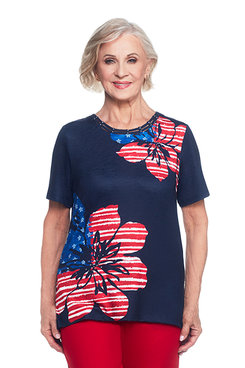 Lady Liberty Asymmetrical Floral Flag Top
