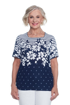 Lady Liberty Petite Stripe Floral Yoke Top