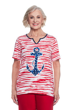 Lady Liberty Plus Anchor Stripe Top