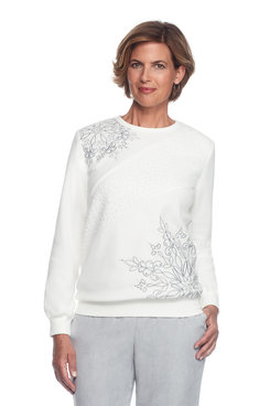 Northern Lights Petite Asymmetric Embroidery Top