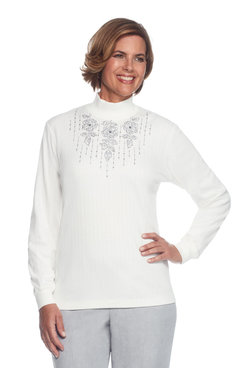 Northern Lights Plus Floral Trellis Embroidery Yoke Top