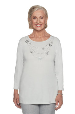 Image: Pearl Grey Top With Beaded Necklace