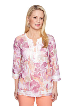 Image: Petite Abstract Floral Lace Trim Top