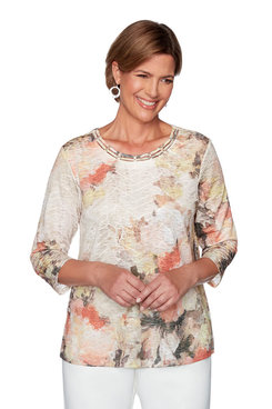 Image: Petite Abstract Floral Texture Top