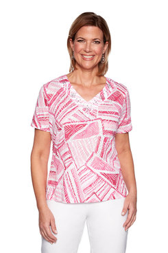 Image: Petite Abstract Patchwork Printed Teeshirt