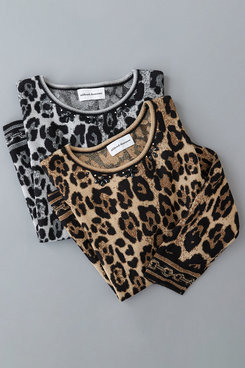 Image: Petite Animal Print Jacquard Sweater