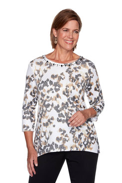 Image: Petite Animal Print Knit Top