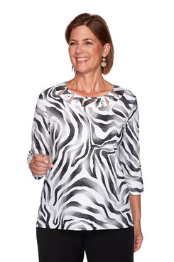 Image: Petite Animal Print Shimmer Top