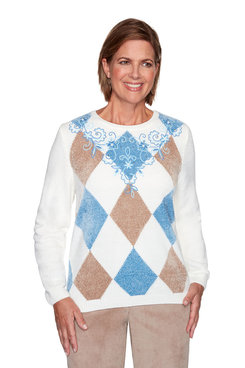 Image: Petite Argyle Floral Yoke Embroidered Sweater