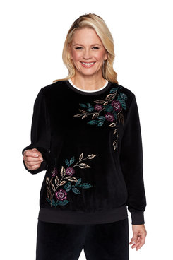 Image: Petite Asymmetical Floral Pullover
