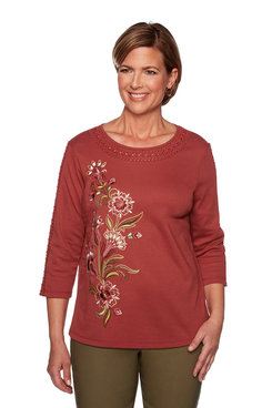 Image: Petite Asymmetric Embroidery Lace Neck Top