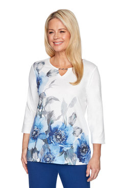 Image: Petite Asymmetric Floral Shimmer Top