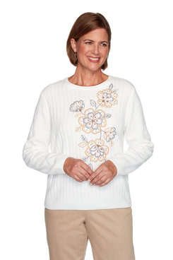 Image: Petite Asymmetric Flower Chenille Sweater