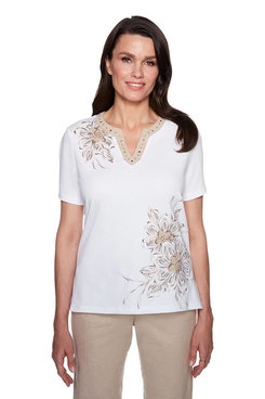 Image: Petite Asymmetric Flower Embroidery Top