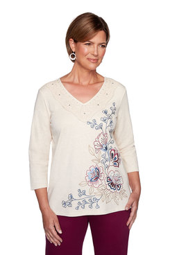 Image: Petite Asymmetrical Embroidered Floral Top