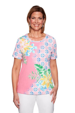 Image: Petite Asymmetrical Floral Printed Top