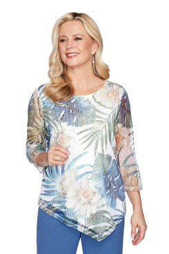 Image: Petite Asymmetrical Tropical Leaves Mesh Top