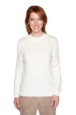 Image: Petite Beaded Floral Texture Sweater