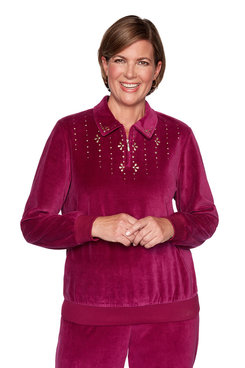 Image: Petite Beaded Zip Neck Pullover