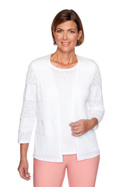 Image: Petite Biadere Pointelle Two-For-One Sweater