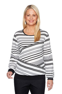 Image: Petite Biased Stripe Top