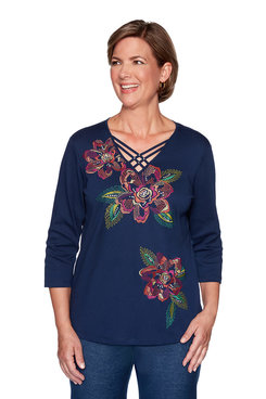 Image: Petite Bold Floral Embroidery Top