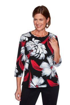 Image: Petite Brushstroke Floral Knit Top